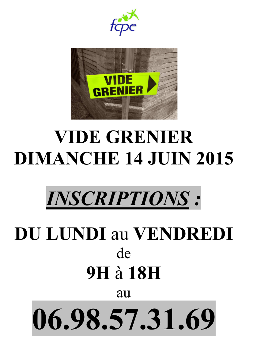 Affiche inscription vide grenier