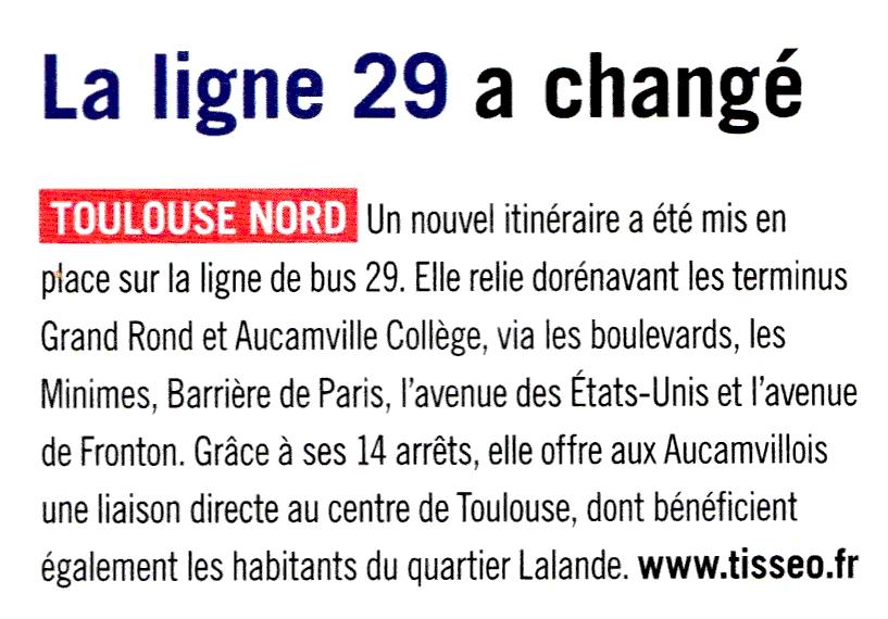 blog cql - ligne 29 article à Toulouse été 2015