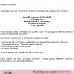 Commission de Quartier du 20/11/18 à 18h30 à l'Espace JOB