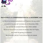 Invitation à la commémoration du 11 Novembre 1918